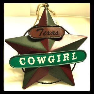Texas Cowgirl star Christmas tree ornament